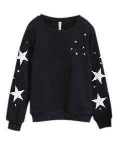 Black Stars Printed Cotton Sweatshirt