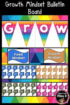 Encourage a Growth Mindset with this bright Growth Mindset Bulletin Board. There are a total of 36 statements - 18 Fixed Mindset and 18 Growth Mindset. There are two colour designs to choose from. Rainbow Bunting provides a header for display. Each thumbs up or down is colour coded for easy display on your classroom wall. The Bulletin Board provides a framework for positive growth and provides an opportunity for students to develop their own growth mindsets. © Tales From Miss D