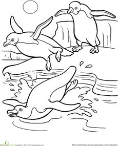 Penguin Coloring Page Worksheet