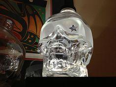 Starry Eyed Skull. Etched Crystal Head Vodka Bottle with optional illuminated base