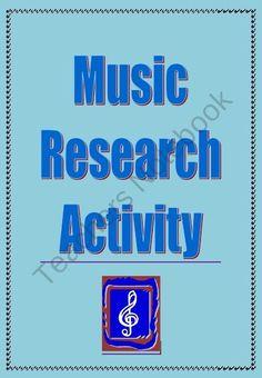 Music Research Activity product from MusicTeacherResources on TeachersNotebook.com