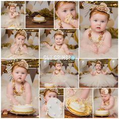 Cake Smash Session - Gold and Ivory by Got Grins? Photography in Lakeland FL - Kim@GotGrins.com