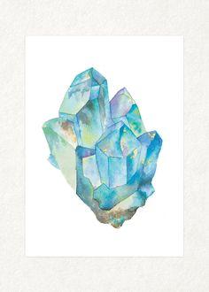 Aquamarine 1 5 x 7 Watercolor Art Print door songdancedesign                                                                                                                                                                                 More