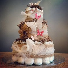 Rustic butterfly diaper cake with embellished by JennyKnickDesigns