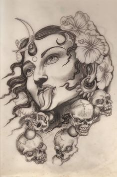 Kali Goddess, Black Goddess, Goddess Art, Sketch Tattoo Design, Tattoo Designs, Mascara Hannya, Kali Tattoo, Cthulhu Tattoo, Japanese Tiger Tattoo