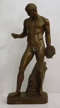 c1850 french bronze nude male w/ discus by barbedienne in Antiquitäten & Kunst, Metallobjekte, Bronze | eBay!