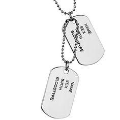 Jewelrywe Joyería collar colgante camiseta, Colgante, 70.5cm Cadena, Bullet perro militar Estilo Tag League Ejército, Negro Plata (con bolsa de regalo): Amazon.es: Joyería