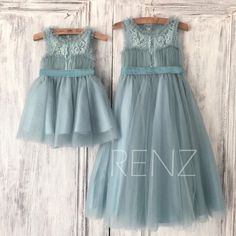 Dusty Blue Tulle Flower Girl DressLace Illusion Neck Puffy