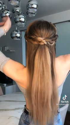 Easy Hairstyles For Long Hair, Up Hairstyles, Easy Hairstyles Tutorials, Easy Ponytail Hairstyles, Long Straight Hairstyles, Dinner Hairstyles, Hairstyles For Medium Length Hair Tutorial, Casual Updos For Long Hair, Church Hairstyles