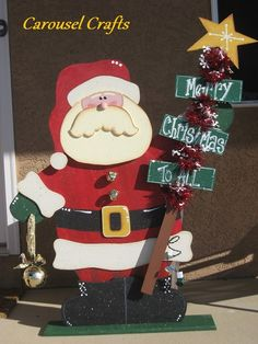 Tall Christmas Wood Craft Santa that lights up. By Carousel Crafts