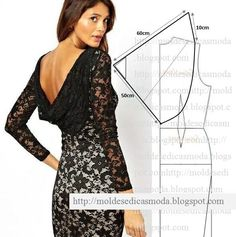 cowl back dress pattern Fashion Sewing, Diy Fashion, Ideias Fashion, Fashion Details, Fashion Tips, Diy Clothing, Sewing Clothes, Barbie Clothes, Sewing Coat