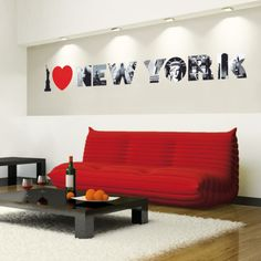 Red couch with black/dark brown coffee & side table, white walls & rug. Wall Sticker, Wall Decals, Do It Yourself Design, I Love Nyc, Small Furniture, Cool Walls, Dorm Decorations, White Walls, Living Spaces