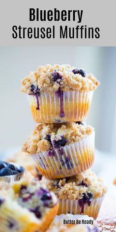 Blueberry Streusel Muffins - Butter Be Ready - - These bakery-style blueberry muffins are incredibly moist and so delicious with an amazing crumbly streusel topping! Easy to make and no mixer required; recipe video included below! Streusel Topping For Muffins, Blueberry Streusel Muffins, Homemade Blueberry Muffins, Blueberry Recipes, Blue Berry Muffins, Starbucks Blueberry Muffin Recipe, Bakery Style Blueberry Muffin Recipe, Muffin Topping Recipe, Muffin Batter Recipe