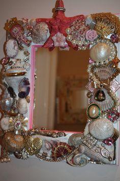 Pink Sea Shell Jewelry Mosaic Mirror Ocean Beach by SeaForYourself, $75.00