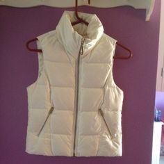 Juicy Couture White Zip Puffer Vest Great Condition small scratch by zipper but in great condition. Size XS! Juicy Couture Off White puffer vest! Gold J Zipper. Originally $200! Juicy Couture Jackets & Coats Puffers