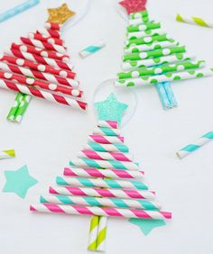 Get some use out of leftover paper straws + make these colorful Christmas tree ornaments.