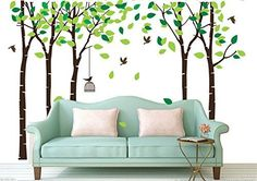 Yanqiao Big Forest Trees Wall Decal with Flying Birds Tree Background Stickers Nursery Removable PVC Wall Murals 7091039 -- Check this awesome product by going to the link at the image.