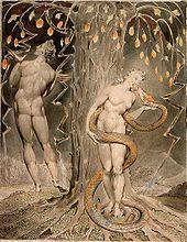 William Blake, The Temptation and Fall of Eve, 1808 (illustration of Milton's Paradise Lost)
