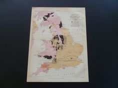 Old map of coal fields of Great Britain 1877 by DecorativePrints, €11.95
