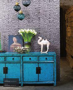 zebra wallpaper fabric modern colorful vignette turquouse aqua dresser cabinet