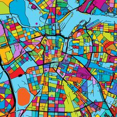 Leipzig, Germany Colorful Vector Map on Black by Hebstreits #stockimage #design #map #colorful #vector