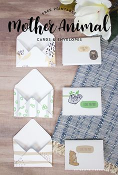 FREE Mother Animal Cards & Envelopes - Designs By Miss Mandee. Super cute, printable cards and matching envelopes for Mother's Day!
