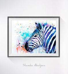 Bunte Zebra-Aquarell drucken Zebra Kunst tierischen von SlaviART