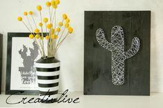 DIY Nagel-Fadenbild Kaktus und ein Kissen Diy Shutters, Palette, Succulents, Shelf, Lifestyle, Crafting, Round Nails, Diy Presents, New Ideas