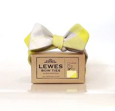 Men's bow tie  grey and lemon wool self tie bow tie by DinaMalkova Etsy