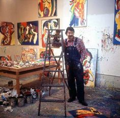 Karel Appel in his studio