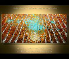 Original Birch Oil Painting 48 Modern Oil Painting por Artcoast, $380.00