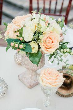 Peachy rose wedding centerpieces