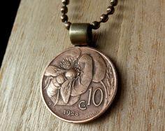Italian coin jewelry, honey bee. italian coin necklace