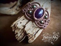 Bracelet macramé améthyste, bracelet macramé vieux rose, Belisamag, bracelet de fée, macramé pierre semi précieuse, macramé princesse. de la boutique BelisaMag sur Etsy