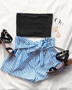 Nautical Stripe High Waisted Shorts #lovepriceless