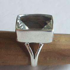 GREEN AMETHYST 925 Fine Sterling Silver Ring Size 7 Genuine Stone Prasiolite Prasiolite, White Gold Rings, Sterling Silver Rings, Jewelery, Amethyst, Gemstone Rings, Gemstones, Landscape Art, Green