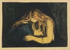 'Vampire' print by Edvard Munch, created as a variation on his painting 'Love and Pain'