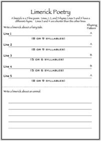 A limerick is a five-line poem with an AABBA rhyming pattern. In this worksheet, you will write two limericks. You might also like our Poetry lapbook and our other poetry worksheets.