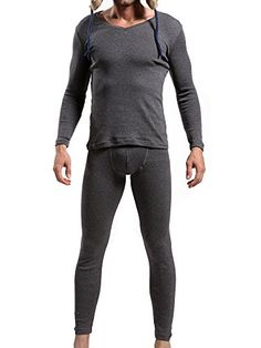 Introducing Godsen Mens Thermal Long John Underwear Set V neck Tops and Bottoms L 8521602Grey. Great Product and follow us to get more updates!