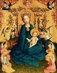 """Madonna of the Rose Bower"" -- Circa 1440-42 -- Stefan Lochner -- German -- Oil on oak panel -- Wallraf-Richartz-Museum."