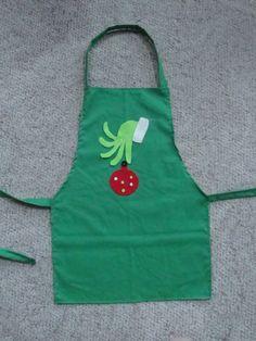 Children's Christmas Grinch Apron por Amazingknits en Etsy
