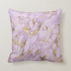 Elegant Lavender Gold Marble Throw Pillow | This elegant design features a lavender marble pattern with faux gold foil embellishments. Purple Throw Pillows, Gold Marble, Marble Pattern, Shades Of Purple, Custom Pillows, Home Decor Inspiration, Gold Foil, Embellishments, Lavender