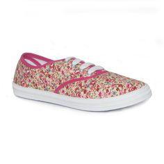 Pink Floral Lace Up Canvas Shoe - £3.99 - www.shoezone.com