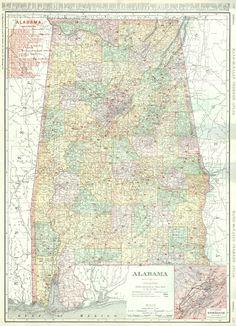 New Railroad And County Map Of Alabama Geo F Cram - 1889 us railroad map