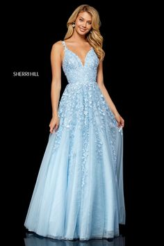 Sherri Hill 52342 Tulle Homecoming Dress - - This Sherri Hill 52342 dress has a v-neckline with floral embellished spaghetti straps. Lace appliqu_s adorn the bodice and continue down through the full tulle A-line skirt. Baby Blue Prom Dresses, Pretty Prom Dresses, Sherri Hill Prom Dresses, Prom Dress Stores, Dressy Dresses, Ball Dresses, Sexy Dresses, Styles Of Dresses, Light Blue Formal Dresses