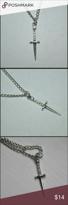 🆕 Jeweled Sword Necklace - Silver Pretty Little Sword Charm - BNWOT - comes on a silver chain Jewelry Necklaces