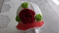 redred rose crochet hat by itsybitziAngel on Etsy