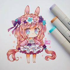 Chibi girl easter pastel bunny drawing