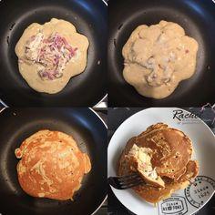 Pancakes salés fourrés bacon et fromage