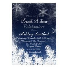 Elegant Navy Blue Snowflake Winter Sweet 16 Cards - Top Winter Sweet Sixteen Birthday Party Invites http://www.wowpartyinvites.com/invitation-shop/20-winter-sweet-sixteen-birthday-party-invitations